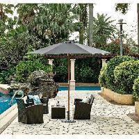Amenagement Exterieur - Du Jardin Parasol en bois rond - Arc 2.7 m - Polyester 160 g-m2- Gris