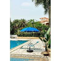 Amenagement Exterieur - Du Jardin Parasol rouge rond - Arc 1.80 m - Structure en polyester anti-uv - Blanc et bleu profond