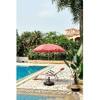 Amenagement Exterieur - Du Jardin Parasol rouge rond - Arc 1.80 m - Structure en polyester anti-uv - Blanc et rouge