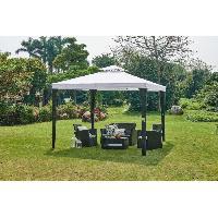 Amenagement Exterieur - Du Jardin Tonnelle de jardin 3 x 4 m en résine tressée - Toit en polyester - Gris Aucune