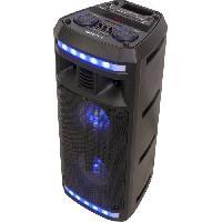 Amplificateur - Enceintes BOOST 10-7138BO Enceinte active autonome a LED - Bluetooth. USB. micro-SD. Tuner FM - 2 x 6.5 / 16 cm - 280 W - Noir