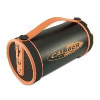 Amplificateur - Enceintes Enceinte bluetooth portable noir et orange avec tuner FM et batterie integree. lecteur sd. aux in. forme tubulaire. diametre 14.5cm