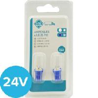 Ampoule - Eclairage Tableau De Bord 2 Ampoules T10 4 Leds 24V - Bleu - ADNAuto
