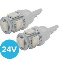 Ampoule - Eclairage Tableau De Bord 2 Ampoules T10 5 Leds 24V - Blanc