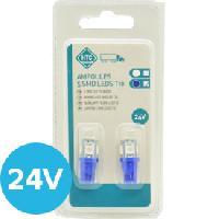 Ampoule - Eclairage Tableau De Bord 2 Ampoules T10 5 Leds 24V - Bleu