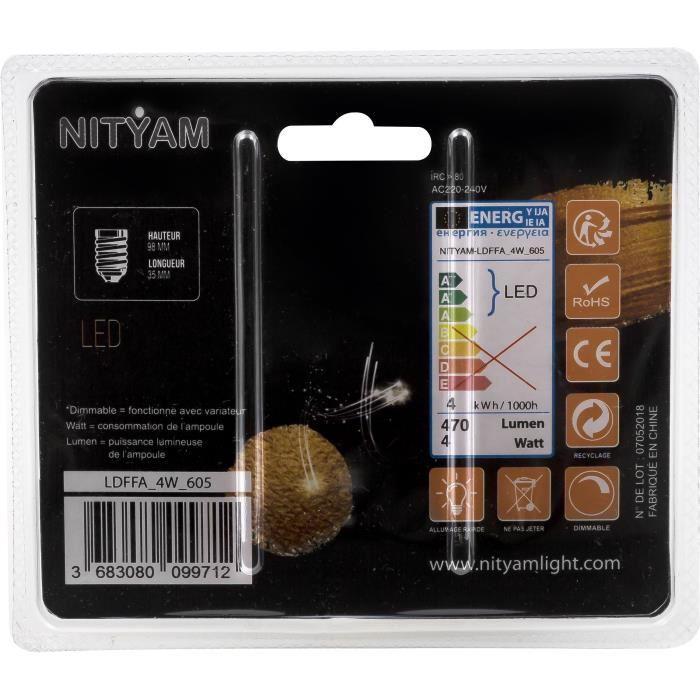 Ampoules-LED-E14-flamme-filament-ambre-4-W-equivalence-40-W-Blanc-chaud-Gene miniature 2