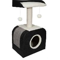 Animalerie AIME Arbre a Chat Design. 1 Etage. 1 Griffoir Jute. 1 Plateau Fourrure Mouton. Jouet Pompons. Noir. Dim. 40x30x72 cm