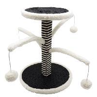 Animalerie AIME Poteau griffoir 4 branches pour chat - Fourrure mouton blanc - 44 cm - Design - 4 jouets pompon