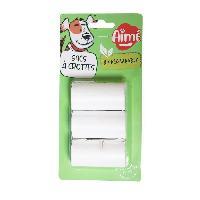 Animalerie AIME Recharge 3x15 sacs a crottes pour chien biodégradables - 3 rouleaux Sacs a déjections canines CLEAN AND FRESH écologiques