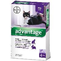 Animalerie Advantage Chat ? Anti-Puces pour Chats ? 4KG Et Plus - 4 Pipettes
