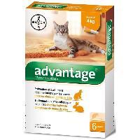 Animalerie Advantage Chat ? Anti-Puces pour Chats ? Moins de 4KG - 6 Pipettes
