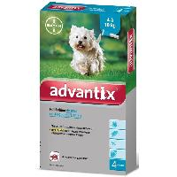 Antiparasitaire - Pipette - Lotion - Collier - Pince - Spray -shampoing - Crochet Tique 4 pipettes antiparasitaires - Pour petit chien de 4 a 10kg