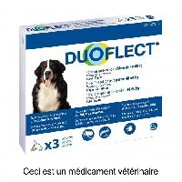 Antiparasitaire - Pipette - Lotion - Collier - Pince - Spray -shampoing - Crochet Tique DUOFLECT Antiparasitaire Duoflect - 3 pipettes - Pour chien de 40 a 60kg
