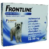 Antiparasitaire - Pipette - Lotion - Collier - Pince - Spray -shampoing - Crochet Tique Pipettes 6x1.34ml - Pour chien de 10-20kg