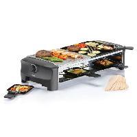 Appareil A Raclette 162820 Appareil a raclette 5 en 1 avec pierre a cuire Pour 8 personnes - 1300W - Noir