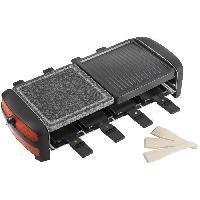 Appareil A Raclette 3 en 1 Raclette. gril et pierre de cuisson avec 8 poelons - 1300W - avec thermostat - en rouge - Bestron