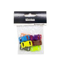 Appret - Mousqueton - Clou - Fermoir - Beliere - Flamme - Tulipe - Coupelle - Anneau - Embout - Connecteur - Clip - Poussoir Boucles fermoirs clispants couleurs