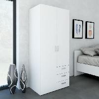 Armoire De Chambre - Bonnetiere SPACE Armoire 2 portes + 3 tiroirs 77 cm - Blanc