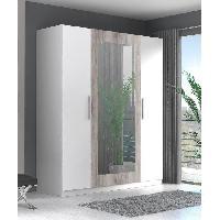 Armoire De Chambre Armoire de chambre SIISTI 180 cm - Blanc et decor chene sable