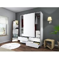 Armoire De Chambre CAPRI Armoire de chambre 140 cm - Blanc mat et noir