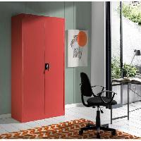 Armoire De Chambre COLD Armoire de chambre style industriel en metal rouge mat - L 90 cm
