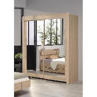 Armoire De Chambre GALA Rangement coulissant contemporain decor chene brooklyn - L 157 cm