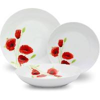 Art De La Table - Articles Culinaires Service de Table 18 pieces en porcelaine Coquelicot rouge et blanc