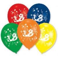 Articles - Decoration De Fete  10 Ballons - Latex - Chiffre 18
