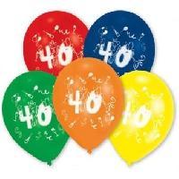 Articles - Decoration De Fete  10 Ballons - Latex - Chiffre 40