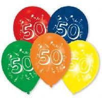 Articles - Decoration De Fete  10 Ballons - Latex - Chiffre 50
