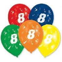 Articles - Decoration De Fete  10 Ballons - Latex - Chiffre 8