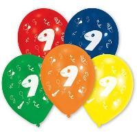 Articles - Decoration De Fete  10 Ballons - Latex - Chiffre 9