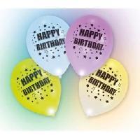 Articles - Decoration De Fete  4 Ballons avec LED - Latex - Happy Birthday - 27.5 cm