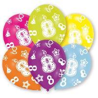 Articles - Decoration De Fete  6 Ballons - Latex - Bougie chiffre 8 - Imprime tous cotes