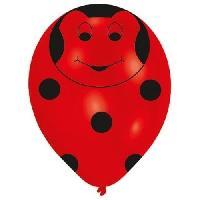 Articles - Decoration De Fete  6 Ballons - Latex - Coccinelle - Imprime tous cotes
