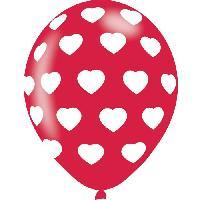 Articles - Decoration De Fete  6 Ballons - Latex - Coeurs - Rouge et blanc