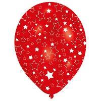 Articles - Decoration De Fete  6 Ballons - Latex - Etoiles blanches - Imprime tous cotes