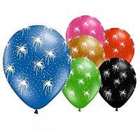 Articles - Decoration De Fete  6 Ballons - Latex - Feux d'artifice - Imprime tous cotes