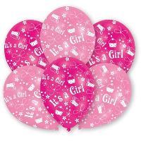 Articles - Decoration De Fete  6 Ballons - Latex - It's a Girl - Imprime tous cotes
