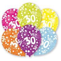 Articles - Decoration De Fete  6 Ballons - Latex - Nombre 30 - Imprime tous cotes