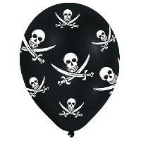Articles - Decoration De Fete  6 Ballons - Latex - Tetes de mort - Imprime tous cotes