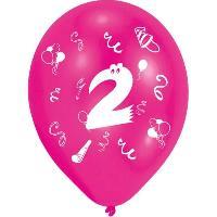 Articles - Decoration De Fete  8 Ballons - Latex - Chiffre 2 - Imprime 2 faces