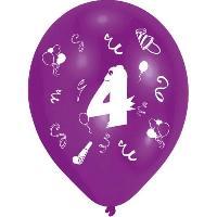 Articles - Decoration De Fete  8 Ballons - Latex - Chiffre 4 - Imprime 2 faces