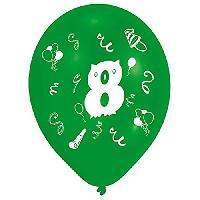 Articles - Decoration De Fete  8 Ballons - Latex - Chiffre 8 - Imprime 2 faces