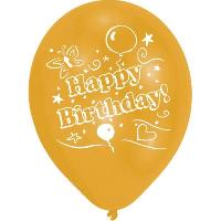Articles - Decoration De Fete  8 Ballons - Latex - Happy Birthday - Imprime 2 faces - Or