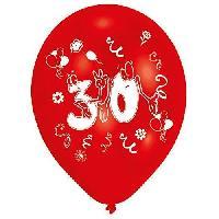 Articles - Decoration De Fete  8 Ballons - Latex - Nombre 30 - Imprime 2 faces