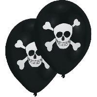 Articles - Decoration De Fete  8 Ballons - Latex - Tete de mort - Imprime 2 faces - Noir