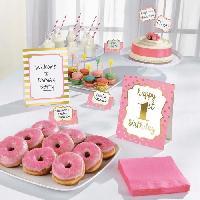 Articles - Decoration De Fete  AMSCAN Kit de décoration Buffet 1st Birthday 12 pieces Rose