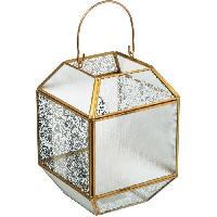 Articles - Decoration De Fete  Lanterne en verre mercurisé géométrique GM - H 20 cm