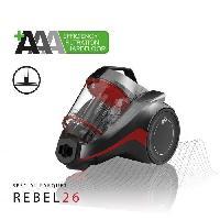 Aspirateur Traineau DIRT DEVIL Aspirateur sans sac cyclonique 3A+AA DD2226-3 spécial parquet - Rebel 26 - 75 dB - 550 W - Gris métal et rouge